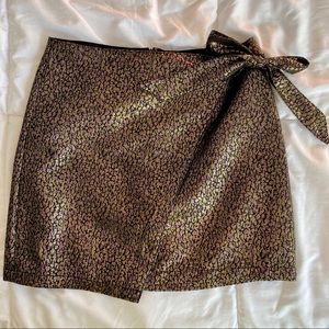 NEVER WORN Asymmetrical Metallic Print Wrap Skirt
